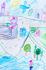 Foto op Plexiglas Draw Child paint colorful color pencil drawing: Child draws of the city with new home a car, the river, plane. background texture