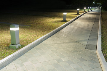 Path in park at night