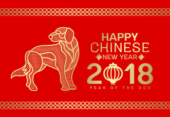 Happy Chinese new year 2018 card with Gold Dog line Stripe abstract  on red background vector design