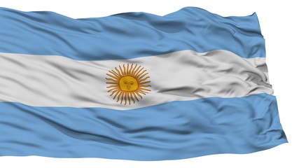 Isolated Argentina Flag, Waving on White Background, High Resolution
