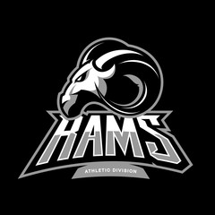Furious ram sport club vector logo concept isolated on black background.  Premium quality wild ram animal athletic division t-shirt tee print illustration.