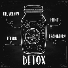 Vector hand drawn illustration. A detox jar is drawn on the chalk Board. The idea for a cafe, restaurant, poster.