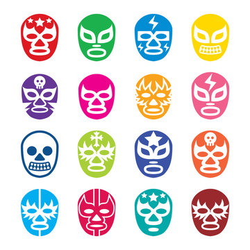Lucha Libre, Luchador icons, Mexican wrestling masks