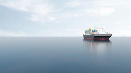 View of Cargo Tanker Ship Sailing Across the Ocean. 3D Rendering