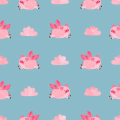 Cute watercolor flying pigs seamless pattern. Valentines day vector background.
