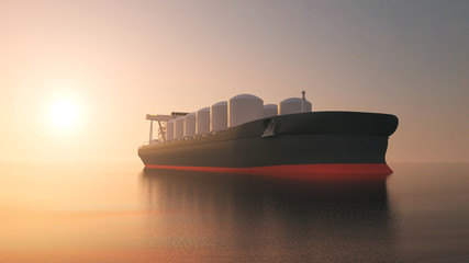 View of Oil Tanker Ship Sailing Across the Ocean at Sunset. 3D Rendering