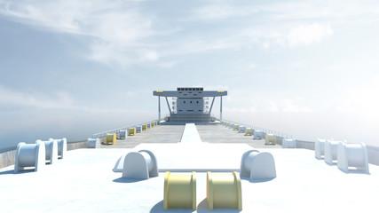 View of Tanker Ship Sailing Across the Ocean. 3D Rendering