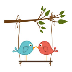 colorful silhouette of tree branch with swing and couple of birds in closeup vector illustration
