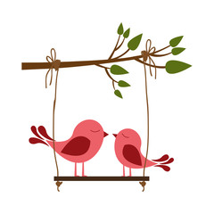 colorful silhouette of tree branch with swing and couple of birds vector illustration