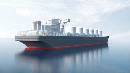 View of Oil Tanker Ship Sailing Across the Ocean. 3D Rendering