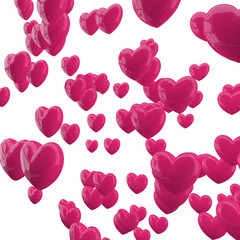 Pink hearts on white background.