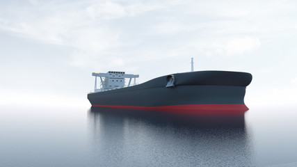 View of Tanker Ship Sailing Across the Ocean. 3D Rendering