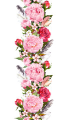 Floral border with pink peony flowers, roses, cherry blossom, bird feathers. Vintage seamless stripe in boho style. Watercolor