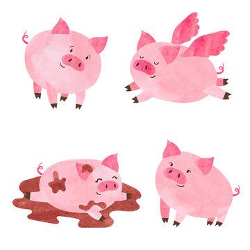 Watercolor cute pigs set. Vector cartoon illustration.
