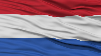 Closeup Netherlands Flag, Waving in the Wind, High Resolution