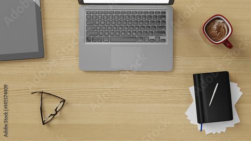 Arbeitsplatz mit schreibtisch im b ro von oben photo for Schreibtisch von oben