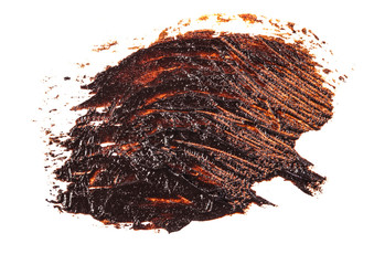 Stain of oil brown paint on white background