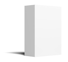 White empty vertical packing cardboard box