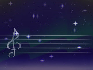 vector silver music staff and treble clef on a background of Northern lights. bright stars. the night sky