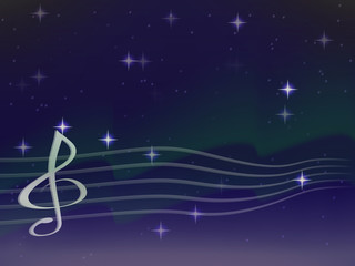 vector wave from a silver stave and treble clef on a background of Northern lights. bright stars. the night sky