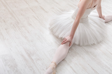Classical Ballet dancer in split crop, top view