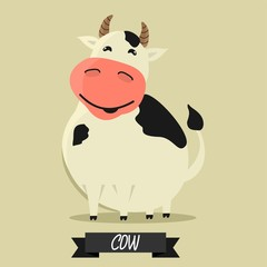 Cute cartoon cow. Vector character.