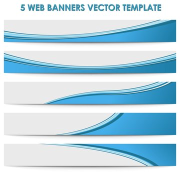 Set of 5 blue web business banners template