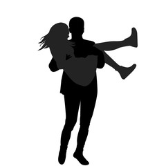 Man holding woman in his arms
