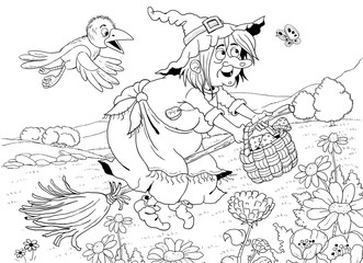 A cute witch flying on the broomstick and her crow. Fairy tale illustration. Coloring page. Cute and funny cartoon characters