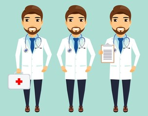 Young doctor standing in different positions. Medicine and health. In flat style. Cartoon.