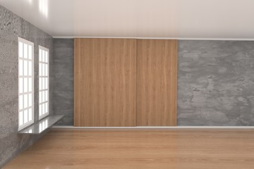 empty room with window and concrete wall in 3D rendering