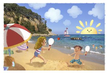 niños jugando en la playa en verano