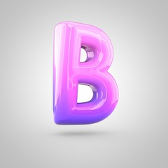 Glossy pink and violet gradient paint alphabet letter B uppercase isolated on white background