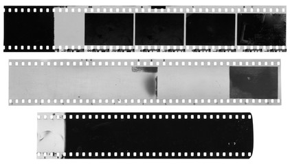 Old, used, dusty and scratched celluloid film strips