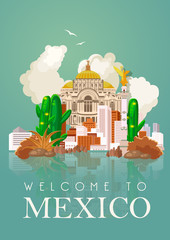 Vector colorful card about Mexico. Travel poster with mexican items.