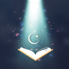 Ramdan Kareem. Quran. Crescent Moon. Star.