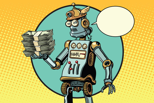 Retro robot with a bundle of money