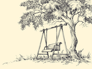 Swing under the tree vector illustration. Playground drawing