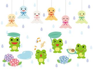 梅雨イメージ てるてる坊主とカエル