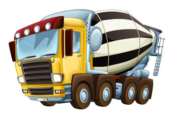 cartoon industry truck concrete mixer illustration for children