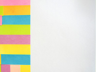 Colorful sticky notes on a white background with free text space.