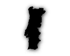 Karte von Portugal mit Schatten