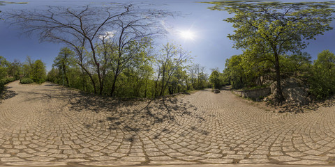 Spherical panorama of crossroad at Bunardzhika hill in Plovdiv