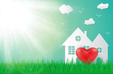 Nature ecology background building with heart , sun and fresh grass garden
