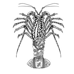 Lobster with ethnic doodle pattern. Zentangle inspired pattern for anti stress coloring book pages for adults and kids.
