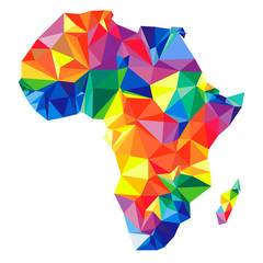 Abstract continent of Africa from triangles. Origami style. Polygonal pattern for your design.