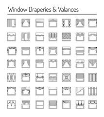 Window draperies and valances. Interior design elements. Line icon set.