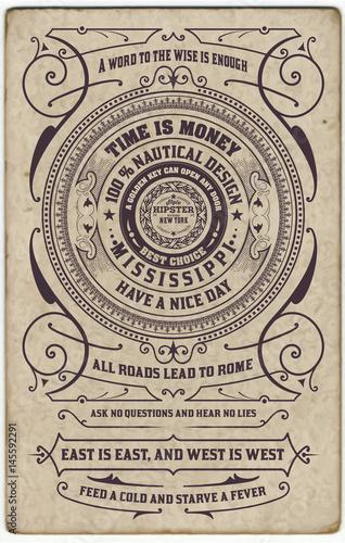 Label design vector antique frame vintage border western
