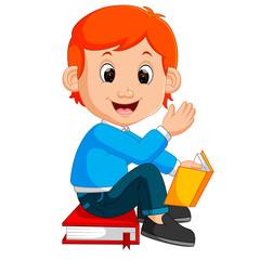 kids boy reading book