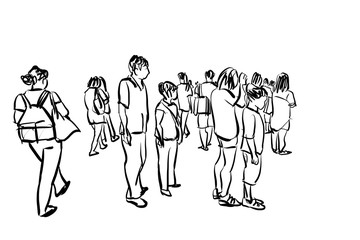 crowd walking ink sketch on white background